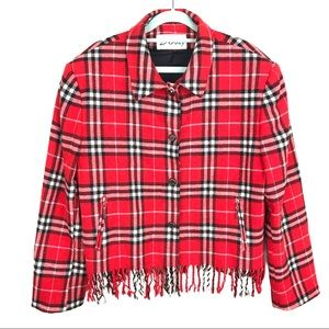 Vintage D'Oraz Red Plaid Fringe Blazer Jacket